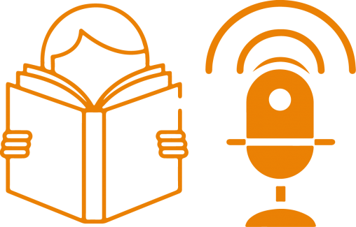 microphone-with-book-orange